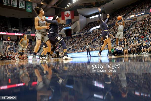 Crystal Dangerfield of the Connecticut Huskies shoots for three during the the UConn Huskies Vs Notre Dame NCAA Women's Basketball game at the XL...