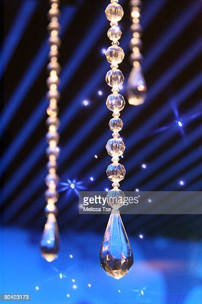 Crystal Decorations hanging from blue ceiling