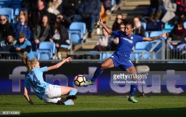 Crystal Dunn of Chelsea battles for the ball during a WSL match between Chelsea Ladies and Manchester City Women at the Academy Stadium on February...