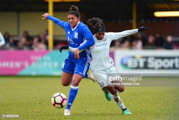 Crystal Dunn of Chelsea battles for the ball during the WS1 match between Birmingham City Ladies and Chelsea Ladies at The Automated Technology Group...