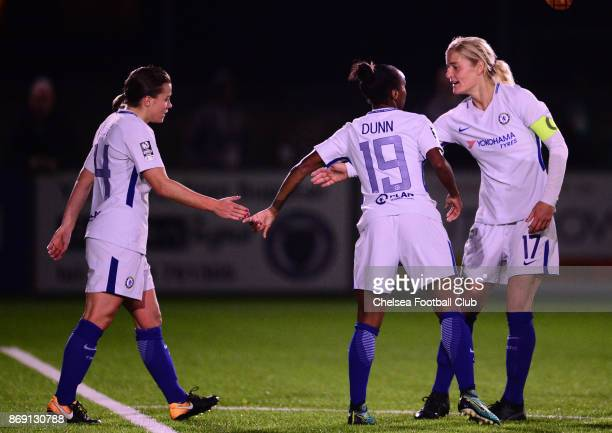 Crystal Dunn of Chelsea celebrates with her team mates after she scores to make it 20 during a Continental Cup Match between Chelsea Ladies and...