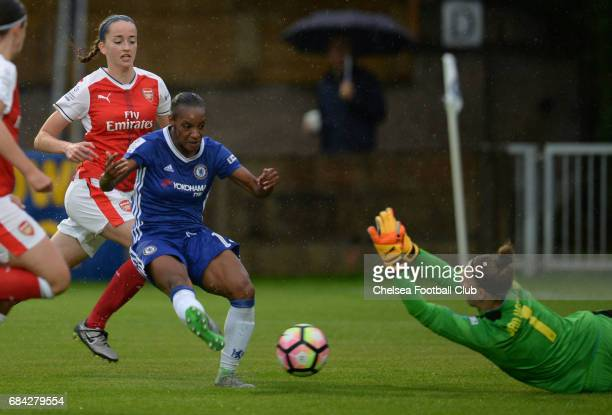 Crystal Dunn of Chelsea takes a shot on goal during a WSL 1 match between Chelsea Ladies FC and Arsenal Ladies FC on May 17 2017 in Staines England