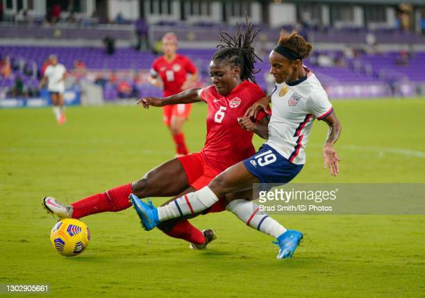 Crystal Dunn of the United States controls the ball against Canada during the 2021 SheBelieves Cup game at Exploria Stadium on February 18, 2021 in...