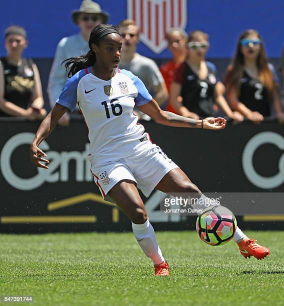 Crystal Dunn of the United States controls the ball against South Africa during a friendly match at Soldier Field on July 9 2016 in Chicago Illinois...
