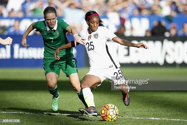 Crystal Dunn of the United States is defended by Diane Caldwell of Ireland at Qualcomm Stadium on January 23 2016 in San Diego California
