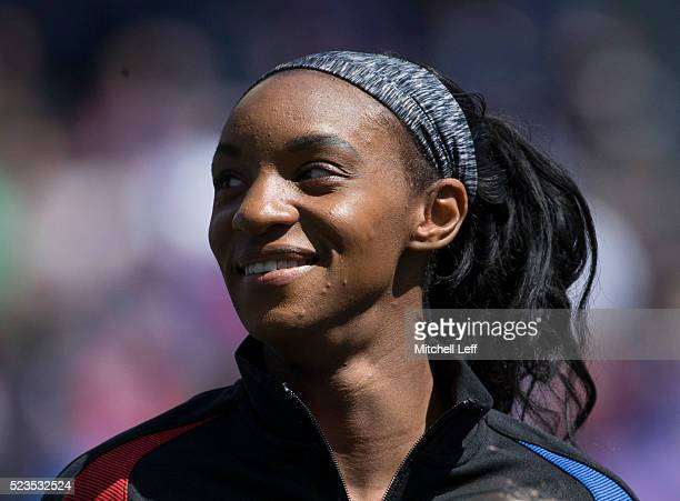 Crystal Dunn of the United States looks on prior to the match against Colombia at Talen Energy Stadium on April 10 2016 in Chester Pennsylvania The...