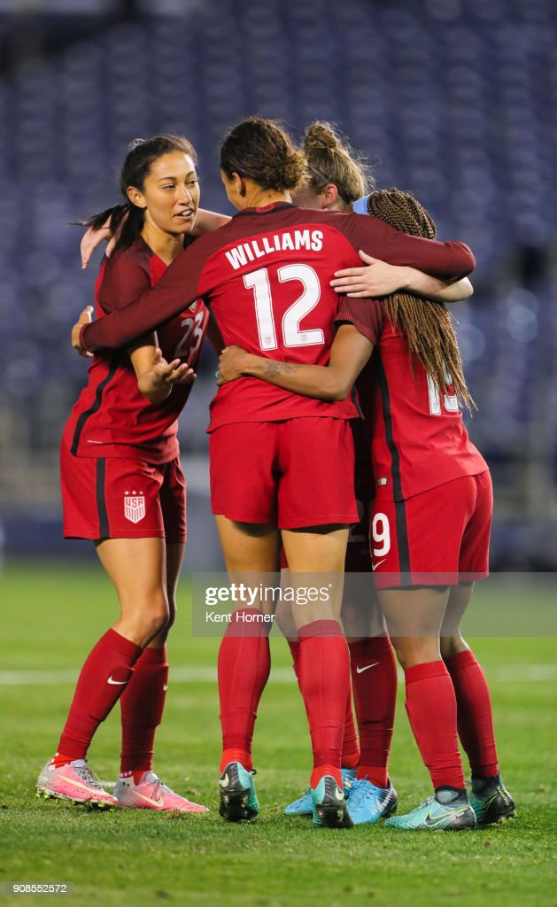 Crystal Dunn #19 (R) of the U.S. women's national team celebrates with Lynn Williams #12 and Christen Press #23 after scoring a goal during the second half against the Danish women's national team at SDCCU Stadium on January 21, 2018 in San Diego, California.