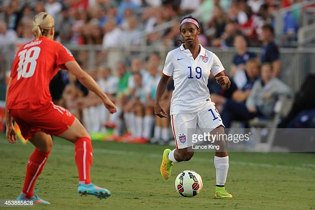Crystal Dunn of the US women's national team controls the ball against the Swiss women's national team during their match at WakeMed Soccer Park on...