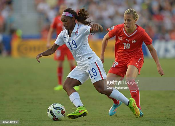 Crystal Dunn of the US women's national team during their match against the Swiss women's national team at WakeMed Soccer Park on August 20 2014 in...