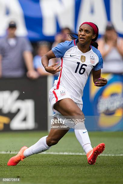 Crystal Dunn of the US Women's National Team takes a shot during the first half of a friendly match against Japan on June 5 2016 at FirstEnergy...