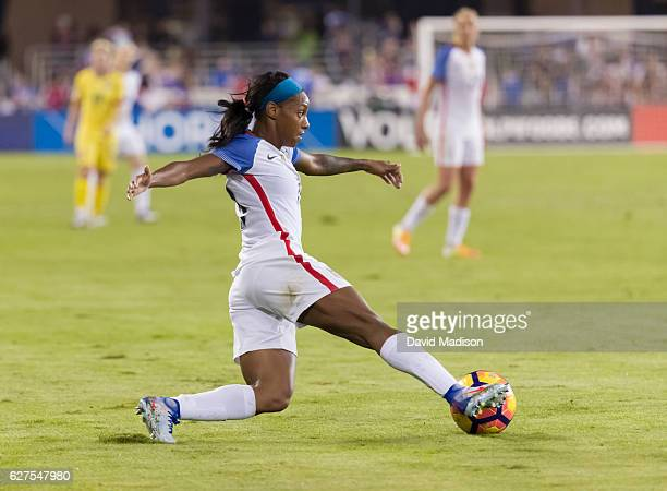 Crystal Dunn of the USA plays in a soccer game against Romania on November 10 2016 at Avaya Stadium in San Jose California