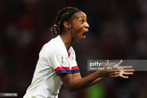 Crystal Dunn of the USA reacts after the final whistle the 2019 FIFA Women's World Cup France Quarter Final match between France and USA at Parc des...