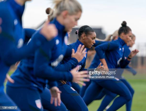 Crystal Dunn of the USWNT sprints during a training session at Dick's Sporting Goods Park training fields on October 20 2020 in Commerce City Colorado
