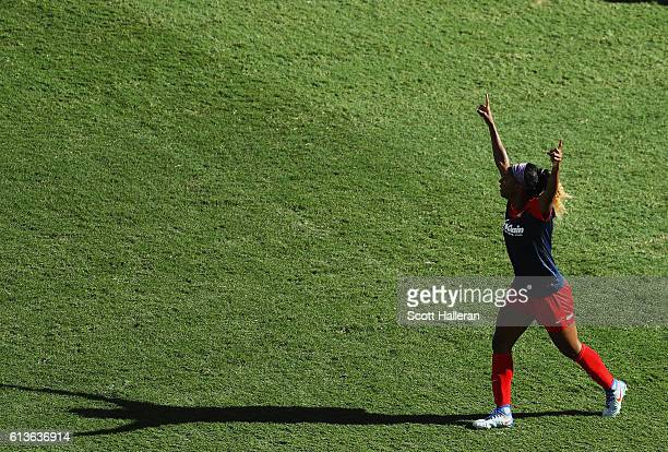 Crystal Dunn of the Washington Spirit celebrates her goal against the Western New York Flash during the first half of the 2016 NWSL Championship at...
