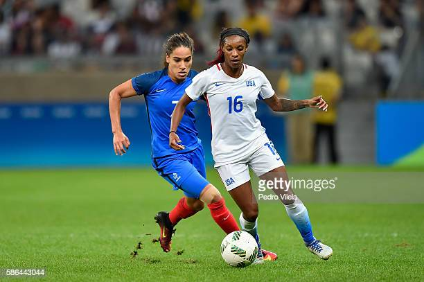 Crystal Dunn of United States and Amel Majri of France battle for the ball during the Women's Group G first round match between United States and...