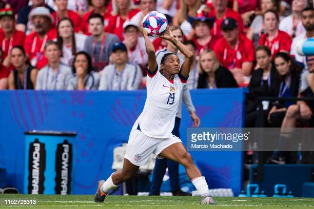 Crystal Dunn of United States in action during the 2019 FIFA Women's World Cup France Quarter Final match between France and USA at Parc des Princes...