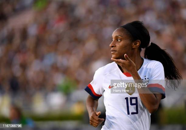 Crystal Dunn of United States looks toward the goal in the game against the Republic of Ireland during the first half of the first game of the USWNT...