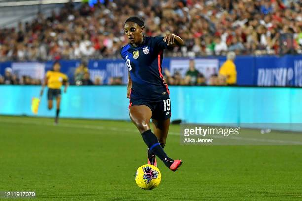 Crystal Dunn of United States moves the ball during the second half of the SheBelieves Cup match against the Japan at Toyota Stadium on March 11 2020...