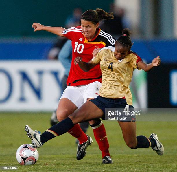 Crystal Dunn of USA battles for the ball with Dzsenifer Marozsan during the FIFA U17 Women`s World Cup Semi Final match between Germany and the USA...