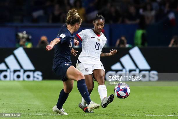 Crystal Dunn of USA pass the ball during the 2019 FIFA Women's World Cup France Quarter Final match between France and USA at Parc des Princes on...