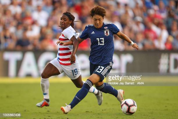 Crystal Dunn United States of America and Yuika Sugasawa of Japan during the 2018 Tournament Of Nations women's match between Japan v United States...