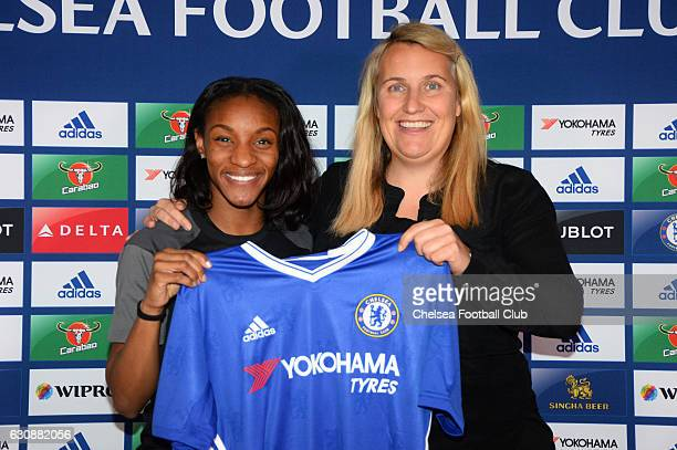 Crystal Dunn with her new manager Emma Hayes after signing for Chelsea at Stamford Bridge on January 3 2017 in London England