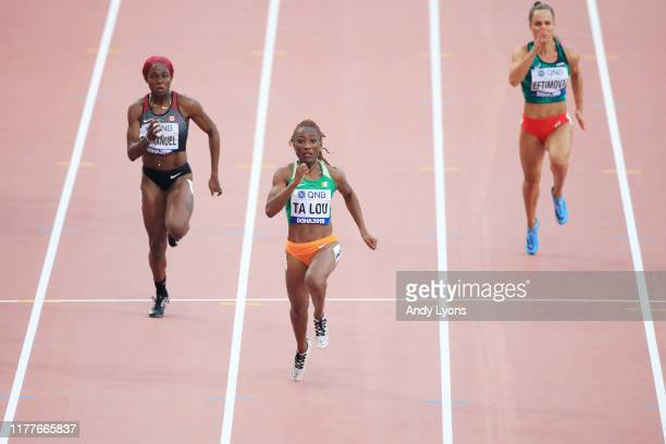 Crystal Emmanuel of Canada, Marie-Josée Ta Lou of the Ivory Coast and Inna Eftimova of Bulgaria compete in the Women's 100 metres heats during day...
