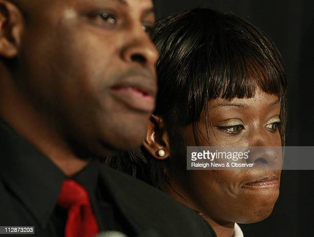 Crystal Gail Mangum appeared at a news conference to promote a book about her life with publisher Vincent Ed Clark in Durham North Carolina Thursday...