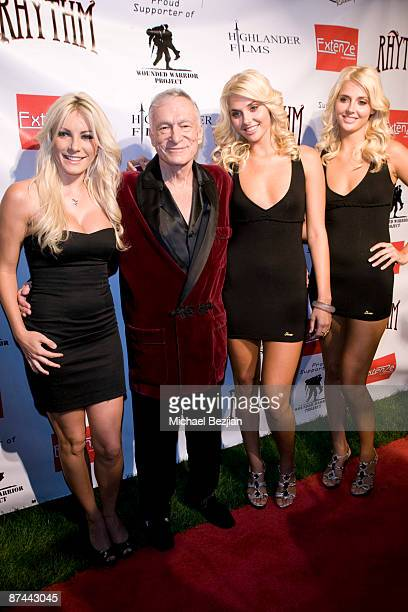 Crystal Harris Hugh Hefner Karissa Shannon and Kristina Shannon attend the Stars And Stripes Evening Of Sexy Patriotism at The Playboy Mansion on May...