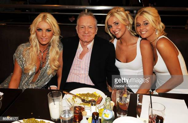 Crystal Harris Hugh Hefner Kristina Shannon and Karissa Shannon attend Hugh Hefner's 83rd birthday dinner at Nine Steakhouse at the Palms Resort...