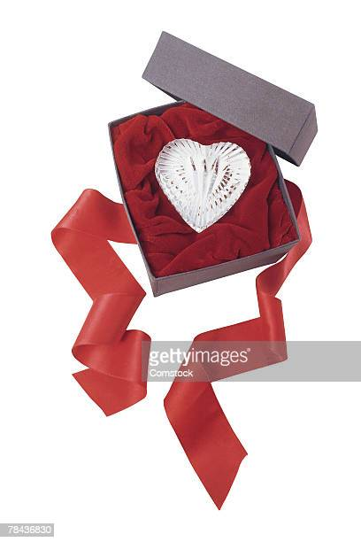 Crystal heart in a box