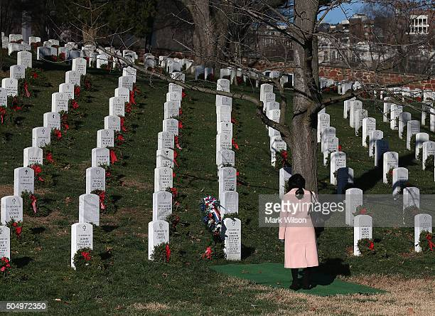 Crystal Jordan stands at the gravesite of her uncle Tuskegee airmanÊSecond Lt Samuel Leftenant after a full honor memorial service at Arlington...