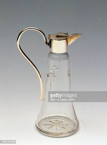 Crystal jug with handle, 1930-1939, Italy, 20th century.