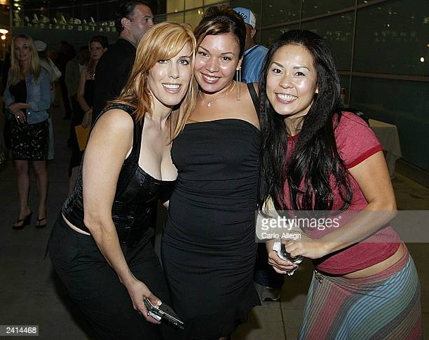 Crystal Kwon Jessica Lugo and producer Celia Fox pose for a picture during the after party of the movie Wasabi Tuna at the Arclight Theater on August...