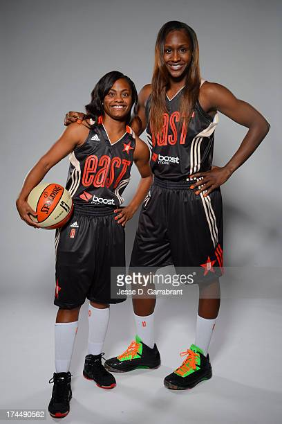 Crystal Langhorne and Ivory Latta of the Eastern Conference AllStars poses for a portrait during the WNBA AllStar Media Circuit on July 26 2013 at...