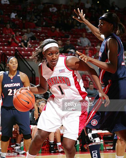 Crystal Langhorne barrels through the Arizona defense at Comcast Center on the campus of the University of Maryland in College Park on November 18...
