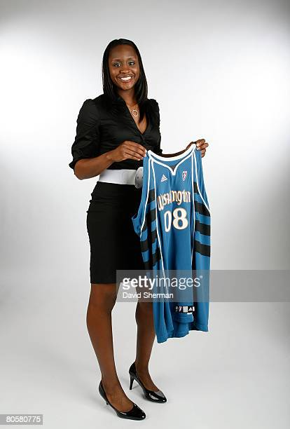 Crystal Langhorne from the University of Maryland the number 6 overall pick by the Washington Mystics poses for a portrait during the 2008 WNBA Draft...