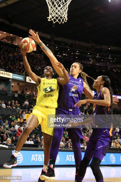 Crystal Langhorne of Seattle Storm goes to the basket against the Phoenix Mercuryon May 25 2019 at the Angel of the Winds Arena in Everett Washington...