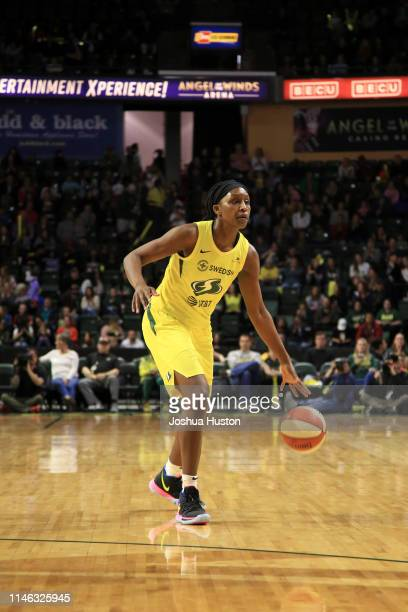Crystal Langhorne of Seattle Storm handles the ball against the Phoenix Mercury on May 25 2019 at the Angel of the Winds Arena in Everett Washington...