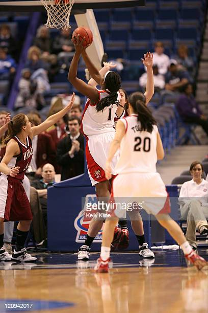 Crystal Langhorne of the Maryland Terps lays in a bucket in the first half during the NCAA Women's Basketball Tournament first round matchup between...