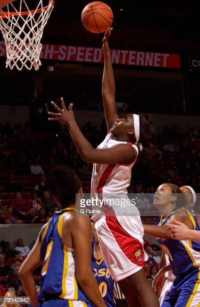 Crystal Langhorne of the Maryland Terrapins drives to the hoop against UC Santa Barbara Gauchos December 2 2006 at Comcast Center in College Park...