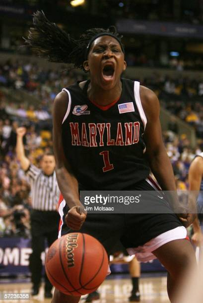 Crystal Langhorne of the Maryland Terrapins screams during their game against the North Carolina Tar Heels during the 2006 Women's NCAA Basketball...