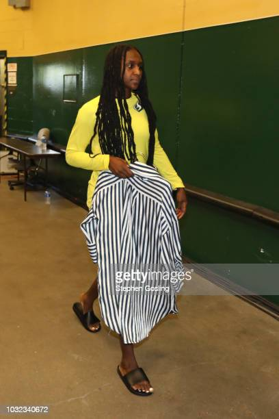 Crystal Langhorne of the Seattle Storm arrives before the game against the Washington Mystics in Game Three of the 2018 WNBA Finals on September 12...