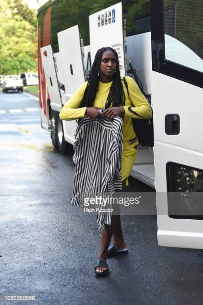 Crystal Langhorne of the Seattle Storm arrives before the game against the Washington Mystics during Game Three of the 2018 WNBA Finals on September...