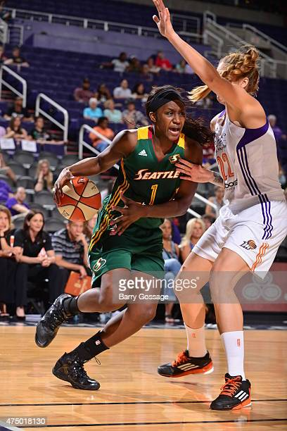 Crystal Langhorne of the Seattle Storm drives against the Phoenix Mercury on May 28 2015 at Talking Stick Resort Arena in Phoenix Arizona NOTE TO...