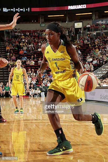 Crystal Langhorne of the Seattle Storm drives to the basket against the Washington Mystics on July 15 at Key Arena in Seattle Washington NOTE TO USER...