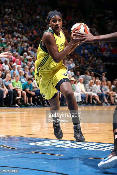 Crystal Langhorne of the Seattle Storm drives to the basket during the game against the Minnesota Lynx during the WNBA game on August 28 2016 at...
