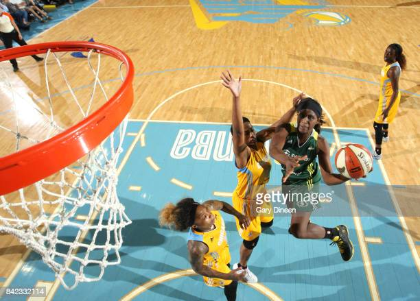 Crystal Langhorne of the Seattle Storm goes for a lay up against the Chicago Sky on September 3 2017 at Allstate Arena in Rosemont IL NOTE TO USER...