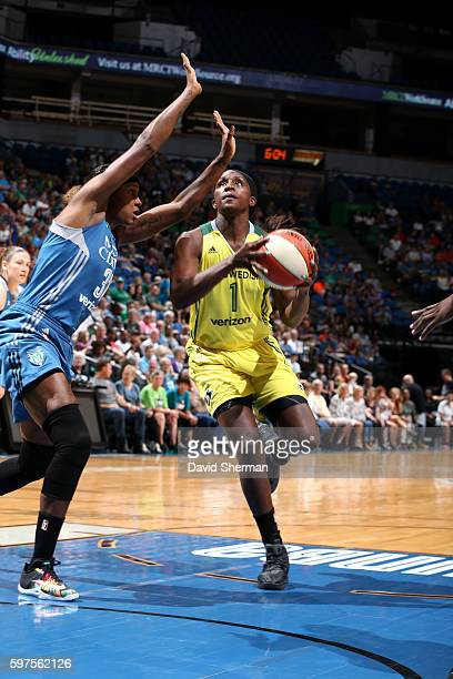 Crystal Langhorne of the Seattle Storm goes for a lay up during the game against the Minnesota Lynx during the WNBA game on August 28 2016 at Target...