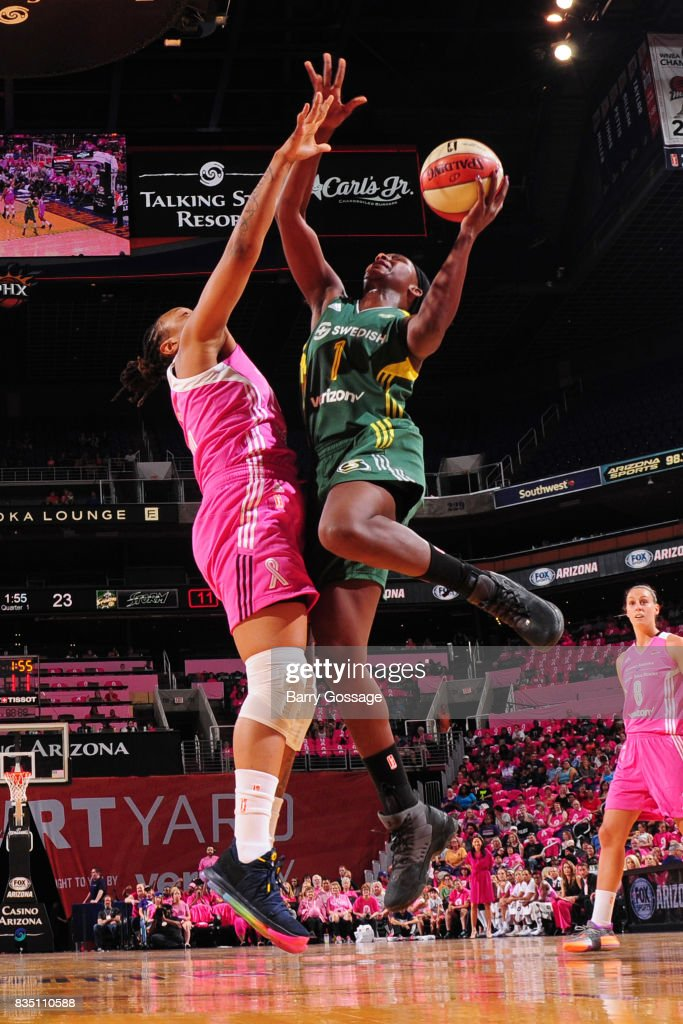 Crystal Langhorne #1 of the Seattle Storm goes for a lay up during the game against the Phoenix Mercury on August 12, 2017 at Talking Stick Resort Arena in Phoenix, Arizona.